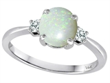 Tommaso Design™ 7mm Round Genuine Opal and Diamond Classic 3 stone Engagement Ring