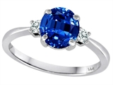 Tommaso Design™ 7mm Round Created Sapphire and Diamond Classic 3 stone Engagement Ring style: 308550