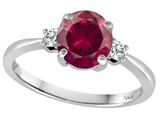 Tommaso Design™ 7mm Round Created Ruby and Diamond Classic 3 stone Engagement Ring