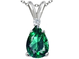 Tommaso Design™ Pear Shape 9 x 7mm Simulated Emerald and Genuine Diamond Pendant style: 308552