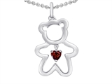 Original Star K™ Love Teddy Bear with 4mm Heart Shape Genuine Garnet