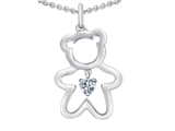 Original Star K™ Love Teddy Bear with 4mm Heart Shape Genuine White Topaz