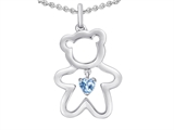 Original Star K™ Love Teddy Bear with 4mm Heart Shape Simulated Aquamarine