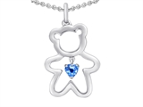 Original Star K™ Love Teddy Bear with 4mm Heart Shape Simulated Blue Topaz style: 308580