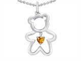 Original Star K™ Love Teddy Bear with 4mm Heart Shape Genuine Citrine