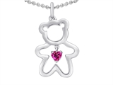 Original Star K™ Love Teddy Bear with 4mm Heart Shape Created Pink Sapphire