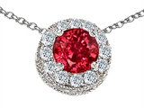 Star K™ Round 6mm Created Ruby Halo Pendant Necklace style: 308587