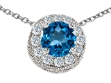 Star K™ Round 6mm Simulated Blue Topaz Halo Pendant Necklace style: 308593