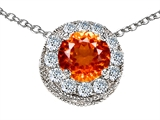 Original Star K™ Round 6mm Simulated Orange Mexican Fire Opal Pendant