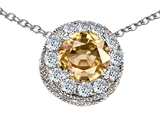 Original Star K™ Round 6mm Simulated Imperial Yellow Topaz Pendant
