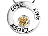 Original Star K™ Live/Love/Laugh Circle of Life Pendant with January Birthstone Round Simulated Imperial Yellow Topaz