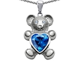 Original Star K™ Love Bear Holding Birthstone of December 8mm Heart Shape Simulated Blue Topaz