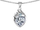 Original Star K™ Loving Mother With Child Family Pendant With 8mm Heart Shape White Topaz