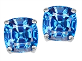 Original Star K™ Cushion Cut 7mm Genuine Blue Topaz Earrings Studs style: 308617