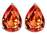 Original Star K™ Pear Shape 9x7mm Simulated Orange Mexican Fire Opal Earrings Studs style: 308725