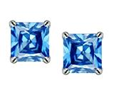 Original Star K™ Square 7mm Simulated Blue Topaz Earrings