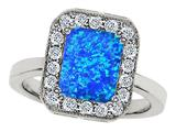 Original Star K™ 10x8mm Emerald Cut Created Blue Opal Engagement Ring