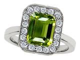 Star K™ 10x8mm Emerald Cut Simulated Peridot and Cubic Zirconia Ring style: 308754