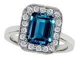 Original Star K™ 10x8mm Emerald Cut Simulated Blue Topaz Engagement Ring