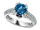 Original Star K™ Round Simulated Blue Topaz Engagement Ring