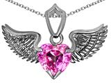 Original Star K™ Wing of Love Pendant with 8mm Heart Shape Created Pink Sapphire