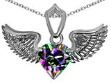 Original Star K™ Wing of Love Pendant with 8mm Heart Shape Rainbow Mystic Topaz