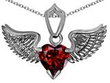 Original Star K™ Wing of Love Pendant with 8mm Heart Shape Genuine Garnet
