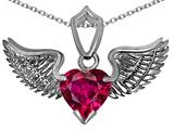 Original Star K™ Wing of Love Pendant with 8mm Heart Shape Created Ruby