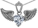 Original Star K™ Wing of Love Pendant with 8mm Heart Shape Genuine White Topaz