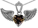 Original Star K™ Wing of Love Pendant with 8mm Heart Shape Genuine Smoky Quartz