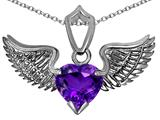 Original Star K™ Wing of Love Pendant with 8mm Heart Shape Genuine Amethyst