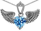 Original Star K™ Wing of Love Pendant with 8mm Heart Shape Genuine Blue Topaz