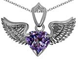 Original Star K™ Wing of Love Pendant with 8mm Heart Shape Simulated Alexandrite