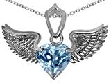 Original Star K™ Wing of Love Pendant with 8mm Heart Shape Simulated Aquamarine