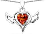 Original Star K™ Wings Of Love Pendant with Heart Shape Simulated Orange Mexican Fire Opal