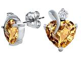 Original Star K™ 8mm Heart Shape Simulated Imperial Yellow Topaz Heart Earrings