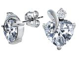 Original Star K™ 8mm Heart Shape Genuine White Topaz Heart Earrings style: 309003