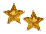Original Star K™ Fancy Star Cut Earrings Studs with Simulated Imperial Yellow Topaz style: 309073