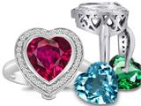 Switch-It Gems™ Heart Shape 10mm Simulated Ruby Halo Ring with 12 Interchangeable Simulated Birth Months style: 309124