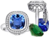 Switch-It Gems™ Cushion Cut 10mm Simulated Blue Topaz Ring with 12 Interchangeable Simulated Birthstones