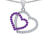 Original Star K™ Double Heart Love Pendant with Round Simulated Amethyst