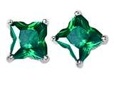 Original Star K™ Fancy Cut Star Shape Earrings Studs with Simulated Emerald style: 309166