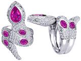 Original Star K™ Good Luck Snake Ring with Created Pink Sapphire Stones style: 309595