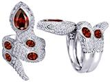Original Star K™ Good Luck Snake Ring with Simulated Garnet Stones