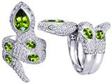Original Star K™ Good Luck Snake Ring with Simulated Peridot Stones style: 309608