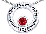 Original Star K™ MOM Circle Mothers Pendant with Round 7mm Created Ruby