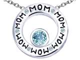 Original Star K™ MOM Circle Mothers Pendant with Round 7mm Simulated Aquamarine
