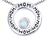 Original Star K™ MOM Circle Mothers Pendant with Round 7mm Simulated Opal style: 309738