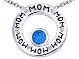 Original Star K™ MOM Circle Mothers Pendant with Round 7mm Simulated Blue Opal style: 309741