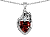 Original Star K™ Loving Mother And Father With Child Family Pendant With Heart Shape Genuine Garnet